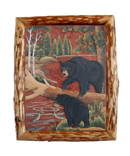 Intarsia Wood Art- Fishing Bears