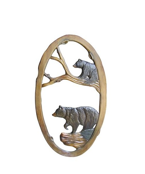 Hand Carved Bears Mirror