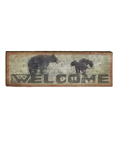 Welcome Bears Wooden Sign