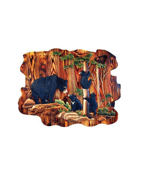 Intarsia Wood Art- Bear and Cubs in Forest