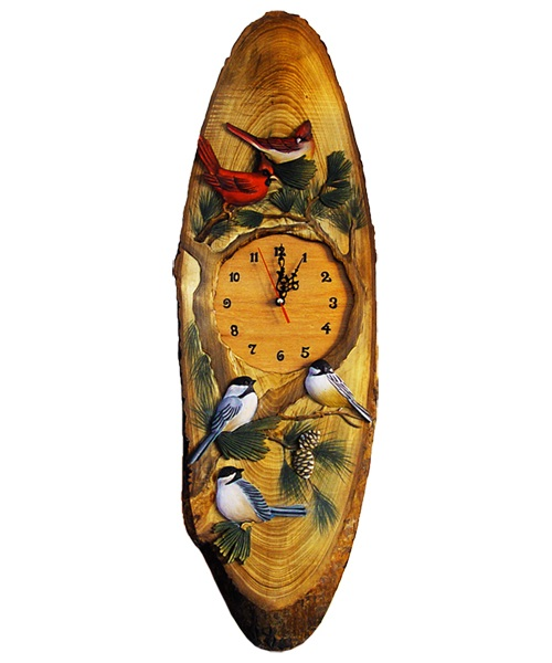 Intarsia Wood Art Clock- Songbirds