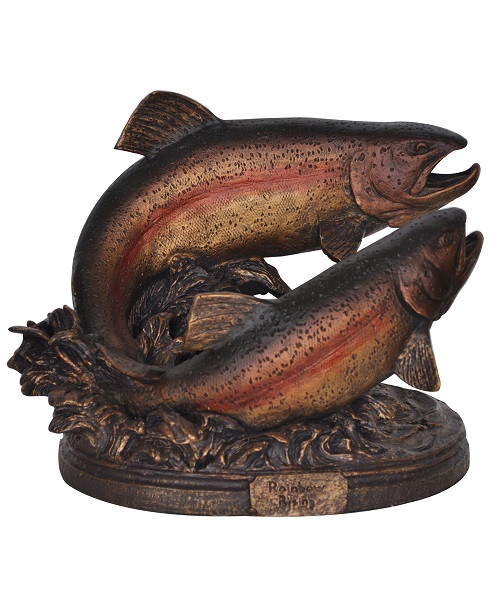 Rainbow Rising Trout Statue