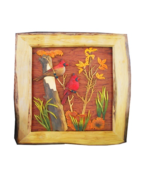 Intarsia Wood Art- Cardinals Framed