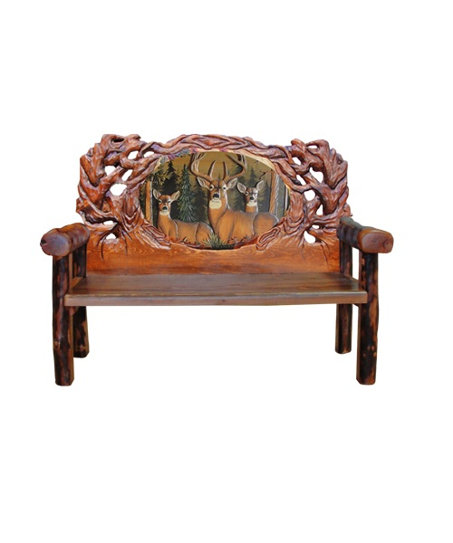 Carved Deer Bench