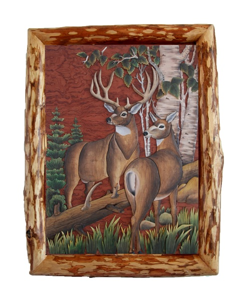Intarsia Wood Art- Deer in the Woods