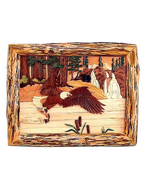 Intarsia Wood Art- Eagle with Bear