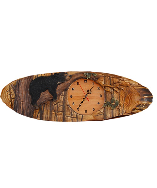 Intarsia Wood Art Clock- Lazy Bear