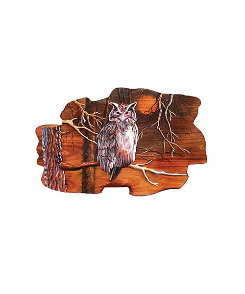Intarsia Wood Art- Owl and Moon