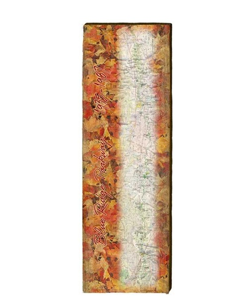 Blue Ridge Parkway Map Wall Art- Autumn