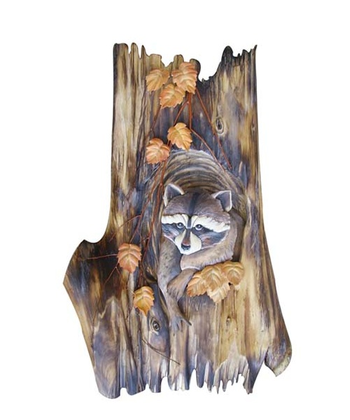 Intarsia Wood Art- Raccoon in Tree