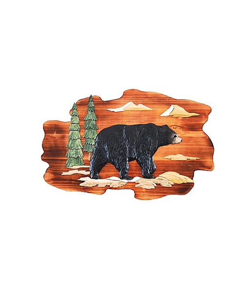 Intarsia Wood Art- Walking Bear