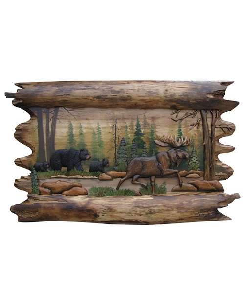 Intarsia Wood Art- Walking Moose and Bear