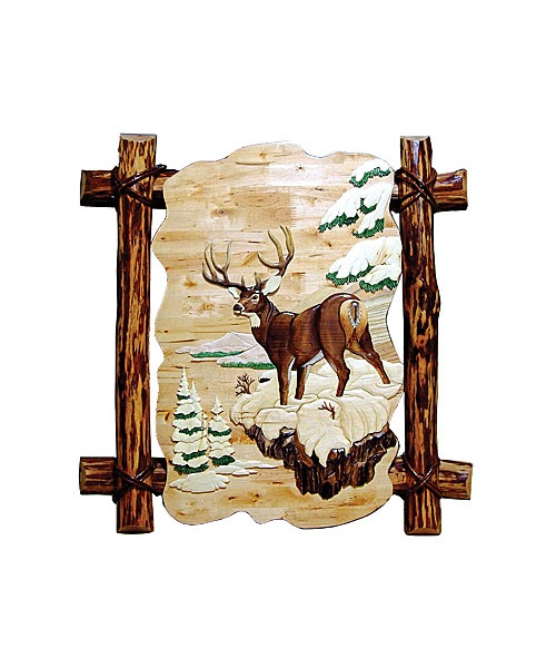 Intarsia Wood Art- Winter Buck