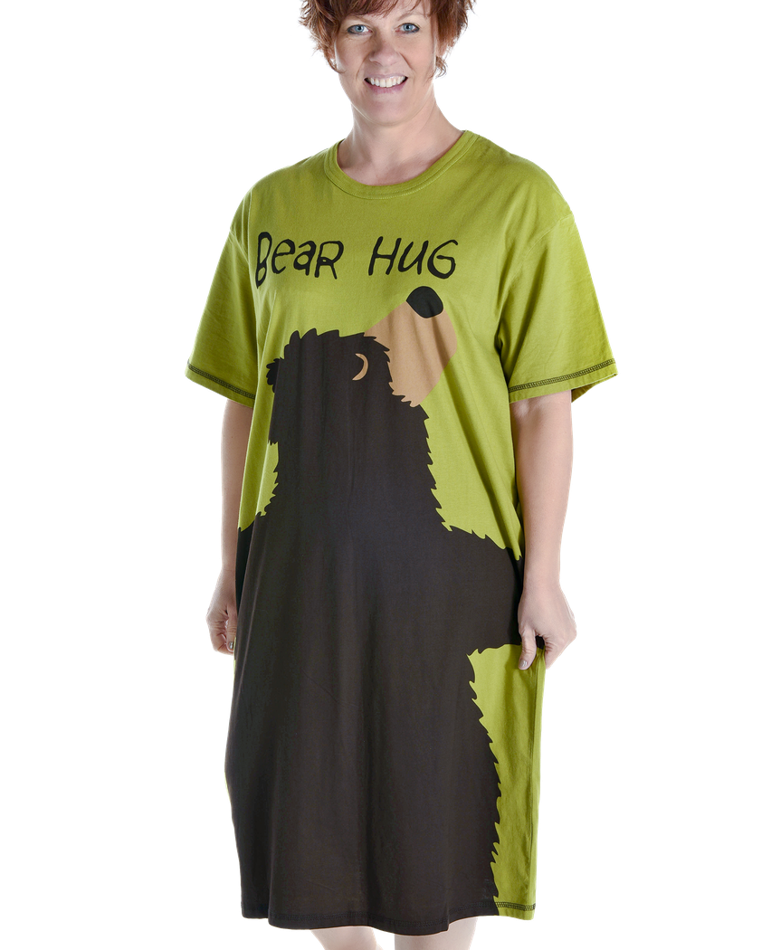 Women's Nightshirt - Bear Hug (green)