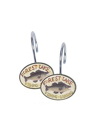 Gone Fishing Shower Curtain Hooks