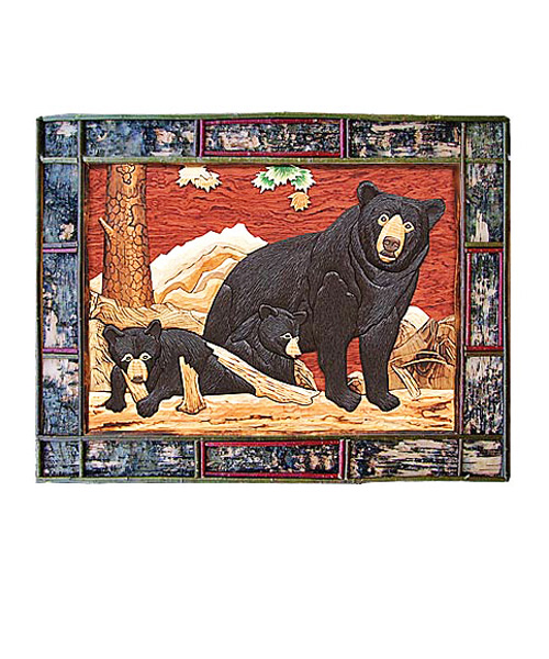 Intarsia Wall Art - Bear Family
