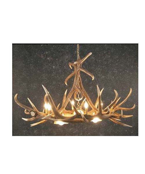 Elk 6 Antler Chandelier With Three Downlights