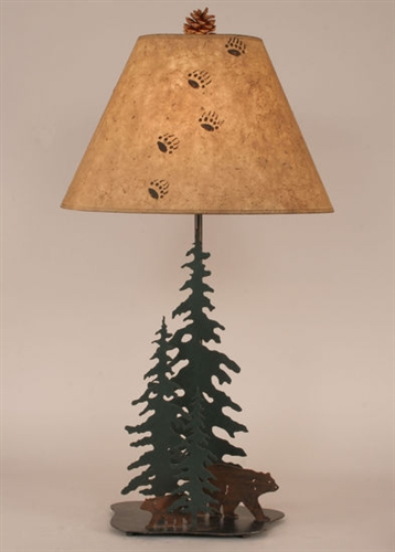Iron Pine Trees with Bear Family Table Lamp