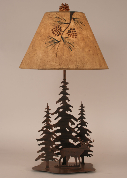 Iron Pine Trees with Deer Table Lamp