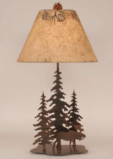 Iron Pine Trees with Moose Table Lamp