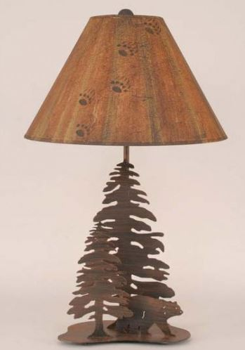 Iron Walking Bear with Trees Table Lamp