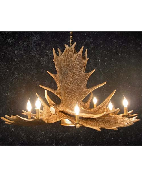 Moose 6 Antler Chandelier With Downlight