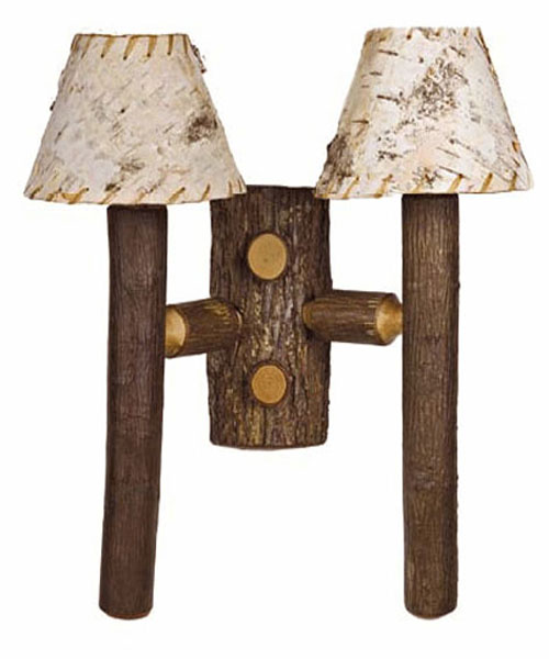 Old Hickory Rocky Mtn. Double Sconce With Birch Shade