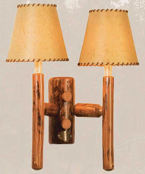 Old Hickory Rocky Mtn. Double Sconce With Laced Mocha Shade