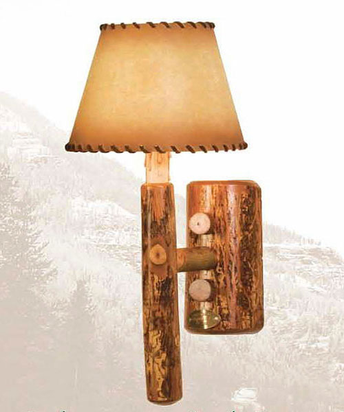 Old Hickory Rocky Mtn. Single Sconce With Laced Buckskin Shade