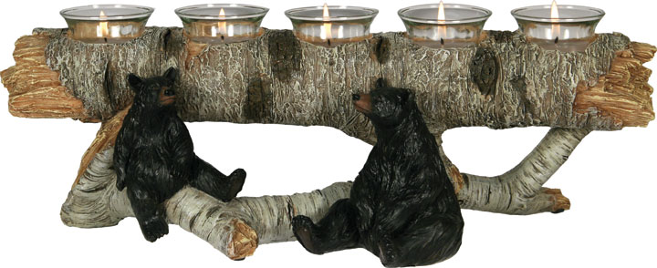 Bear Birch Log Candle Holder
