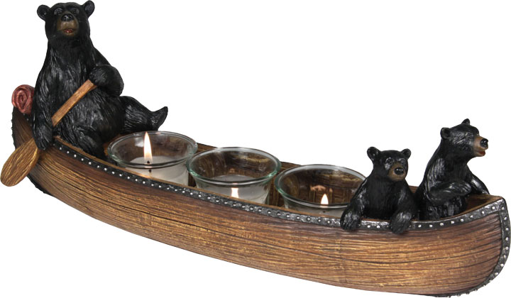 Bears In Canoe Candle Holder