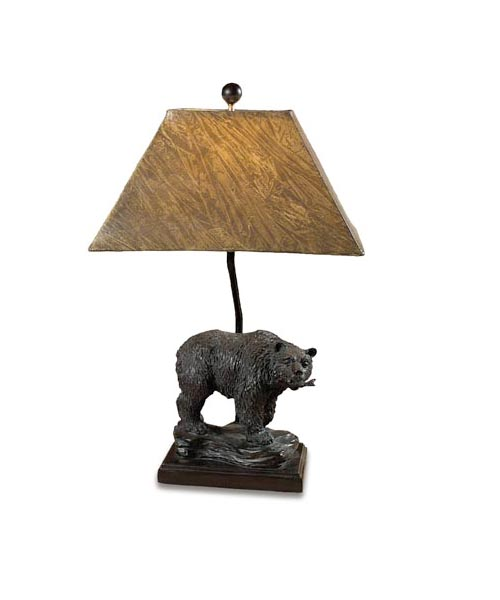 Bear With Fish Table Lamp